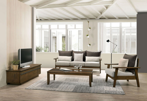 LOUIS - Sofa + Loveseat - Light Walnut