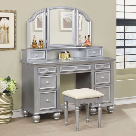 Athy - Vanity w/ Stool - Silver