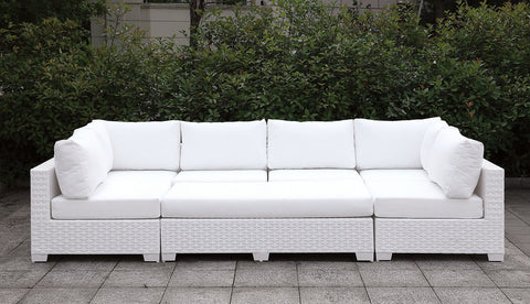 Somani - L-Sectional + Coffee Table + End Table - White Wicker