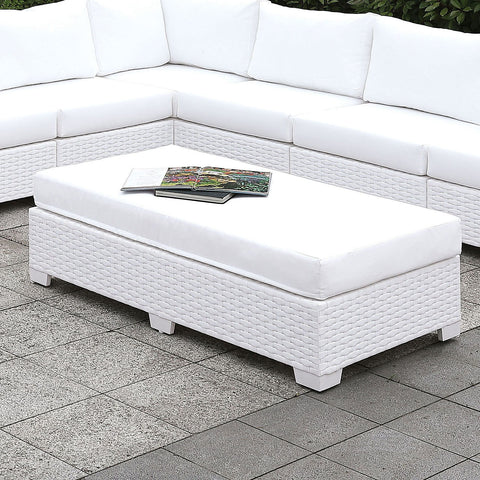Somani II - L-Sectional + Bench - White Wicker
