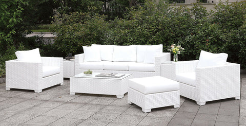 Somani - Sofa + 2 Chairs + 2 End Tables + Coffee Table - White Wicker