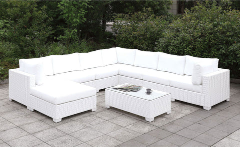 Somani - U-Sectional + Bench + End Table - White Wicker