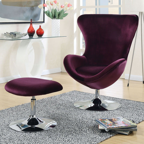 Eloise - Accent Chair w/ Ottoman - Purple