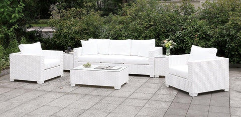 Somani - Sofa+2 Chairs+2 End Tables+Coffee Table+Ottoman - White Wicker