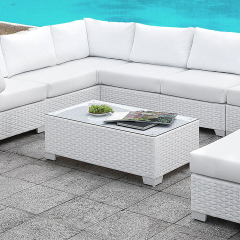 Somani - U-Sectional + Coffee Table + End Table - White Wicker