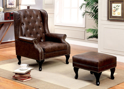 VAUGH - Accent Chair w/ Ottoman - Rustic Brown