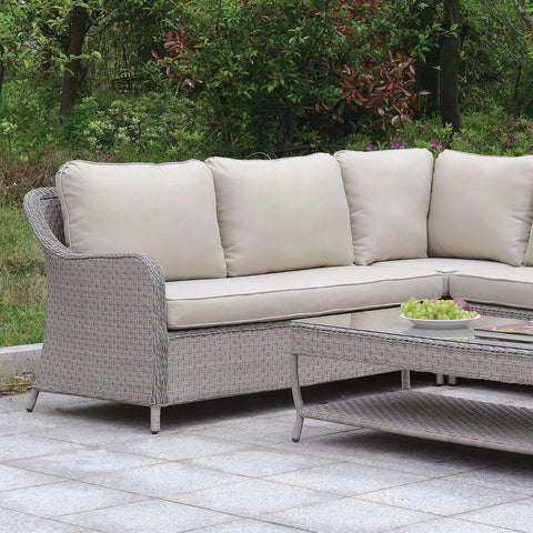 Cogswell - Patio Sectional w/ Coffee Table - Gray