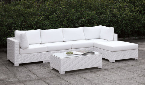 Somani - L-Sectional + End Table - White Wicker