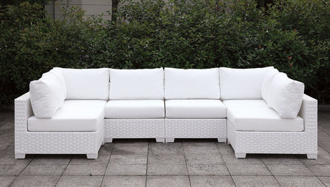 Somani - L-Sectional + Coffee Table - White Wicker