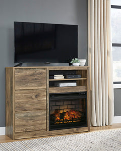 Rusthaven Media Chest with Electric Fireplace