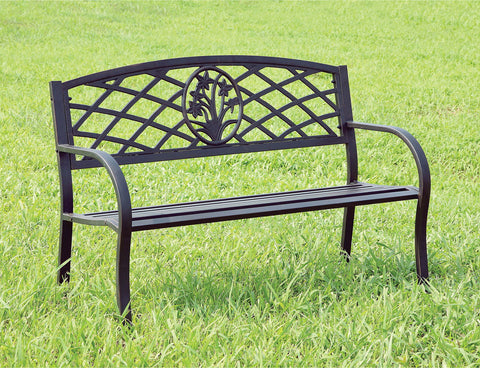 Minot - Patio Steel Bench - Black