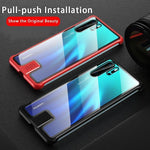 Metal Frame 12H Transparent Tempered Glass Back Cover Push-pull Shockproof Phone Case for Huawei P30 P30Pro Mate20 Mate 20Pro