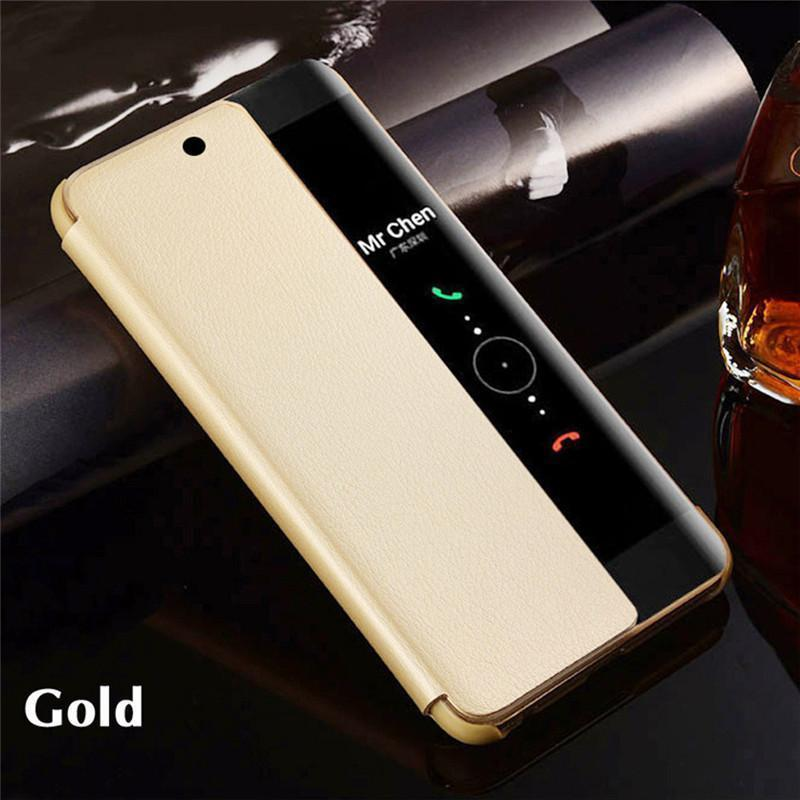 Huawei Flip Case Smart View Case Wake up/Sleep Plating Mirror Window PU Leather Case for Huawei