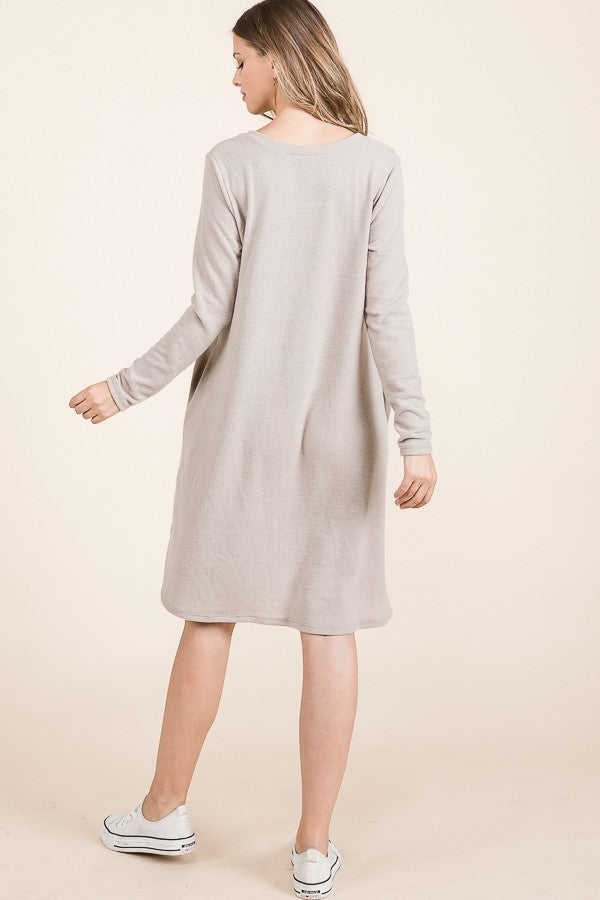 The Olivia | Taupe Sweater Dress