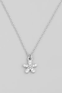 Full Of Laughter Flower Pendant Necklace (Silver)