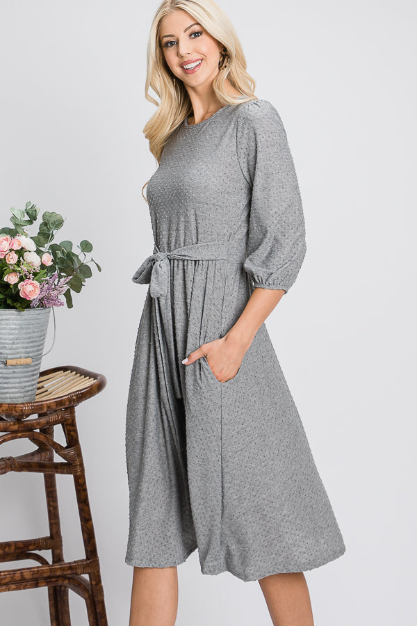 The Mia | Grey Midi Dress