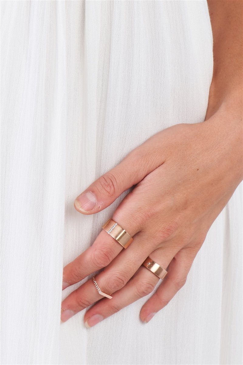 Rose Gold Chain Link Bar Ring
