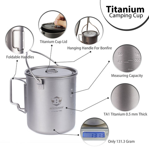 Bestargot Titanium Cup with Insulated Cup Carrier Size