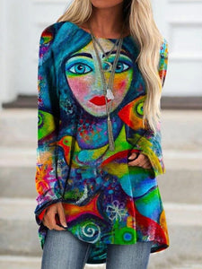 Ladies abstract retro face print round neck irregular long sleeve T-shirt