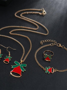 Ladies Christmas Elk Bell Earrings Necklace Bracelet Multi-Piece Set