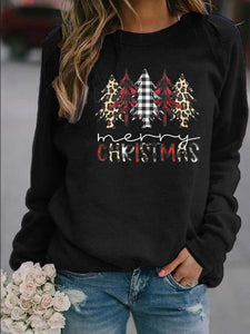 Women's Christmas Tree and Merry Christmas Letter Print Casual Sweatshirt