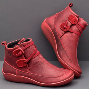 Comfortable flat-bottomed lace-up women's boots