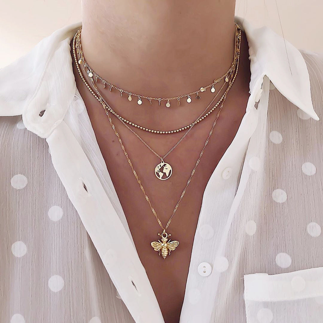 Alloy Clavicle Bee Pendant Multi - Layered Necklace