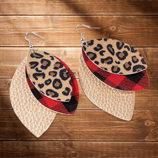 Plaid Leopard Printed Three-Layered Earrings