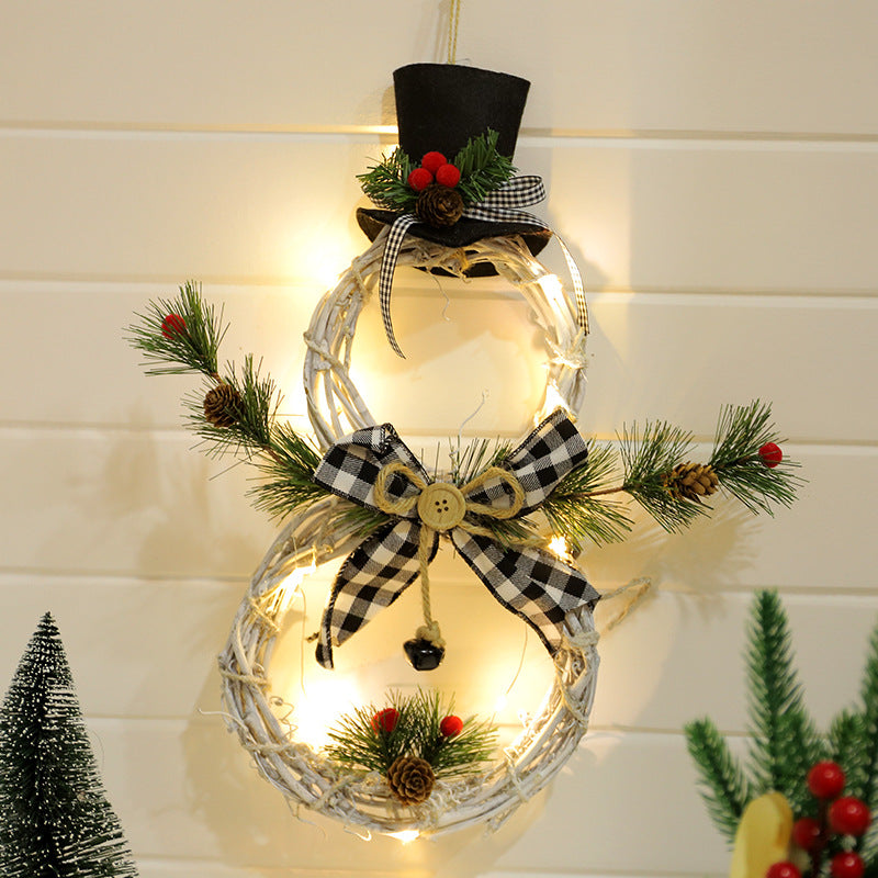 Christmas wreath pendant LED light wreath pendant rattan ring