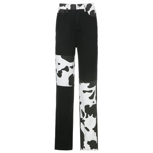 Lady cow line Mosaic straight tube casual jeans