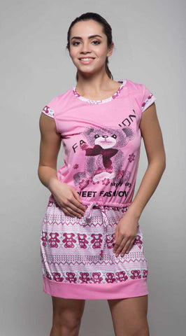 Kunchals Cotton Short Single Pink Nighty -K75 -3141
