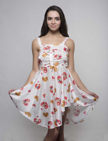Kunchals Frock Style Single  White+Orange  Nighty -K75 -3145