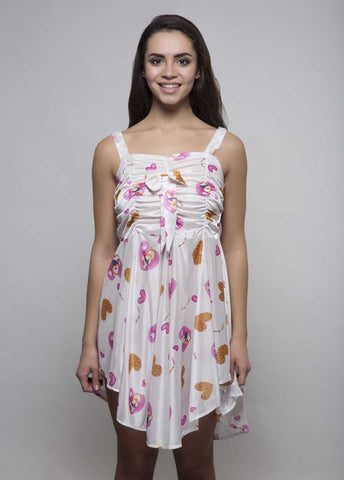 Kunchals Frock Style Single  White+Pink  Nighty -K75 -3145