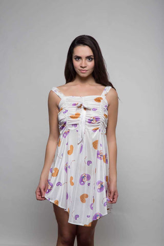 Kunchals Frock Style Single  White+Purple  Nighty -K75 -3145