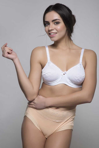 Kunchals Non Padded Full Cup With Wear Lacy Single White Bra -K66-2356