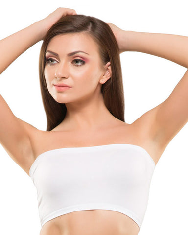 Eva Paris-Full Cup Non Padded Single White Tube Top-K66-2623