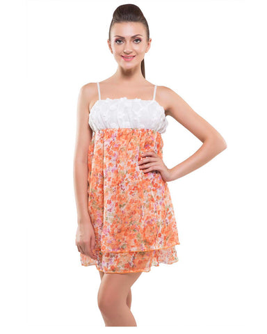 Kate-Singlle Short Frock Style Orange Nighty-K75-3342