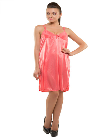 Eva Paris-2 Pes Set Nighty With Gawn Dark Peach Night Wear-K75-3349