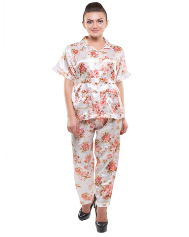 Eva Paris-2 Pes Set Full Pajam With Cream+Print Night Suit-K75-3352