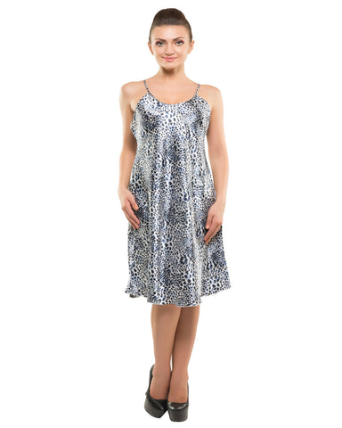 Eva Paris-2 Pes Set Nighty With Gawn Blue Print Night Wear-K75-3355