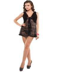 Eva Paris-2 Pes Set Fancy Baby Doll Black Night Wear-K75-3360