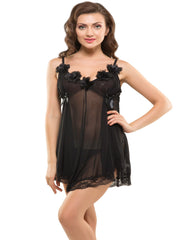 Eva Paris-2 Pes Set Fancy Baby Doll Black Night Wear-K75-3361