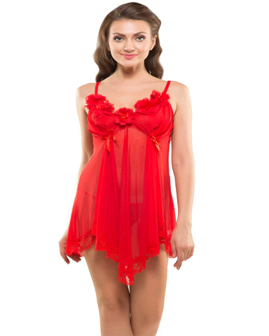 Eva Paris-2 Pes Set Fancy Baby Doll Red Night Wear-K75-3361