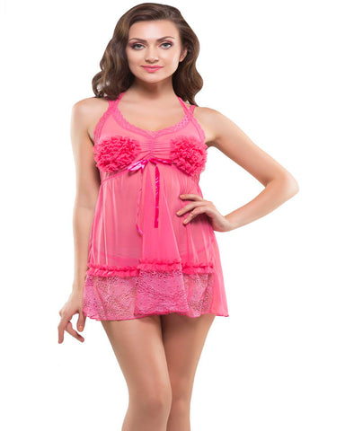 Eva Paris-2 Pes Set Fancy Baby Doll Pink Night Wear-K75-3363