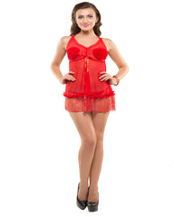 Eva Paris-2 Pes Set Fancy Baby Doll Red Night Wear-K75-3363