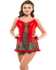Eva Paris-2 Pes Set Fancy Baby Doll Red Night Wear-K75-3365