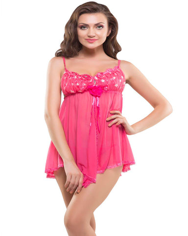 Eva Paris-2 Pes Set Fancy Baby Doll Pink Night Wear-K75-3375