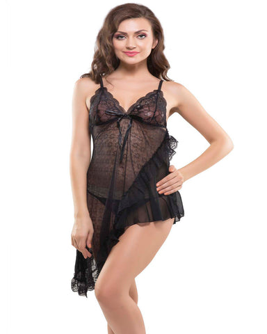 Eva Paris-2 Pes Set Fancy Baby Doll Black Night Wear-K75-3376