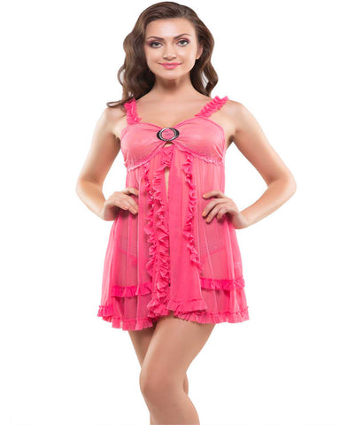 Eva Paris-2 Pes Set Fancy Baby Doll Pink Night Wear-K75-3377