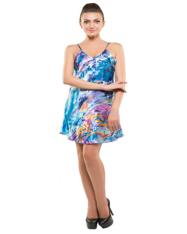Kunchals-2Pes Short Nighty With Gaoun Blue Night Wear-K75-3609